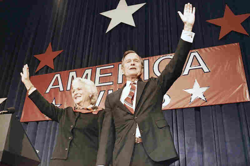President-elect George and Barbara Bush acknowledge the crowd at a victory celebration rally in Houston on Nov. 8, 1988.