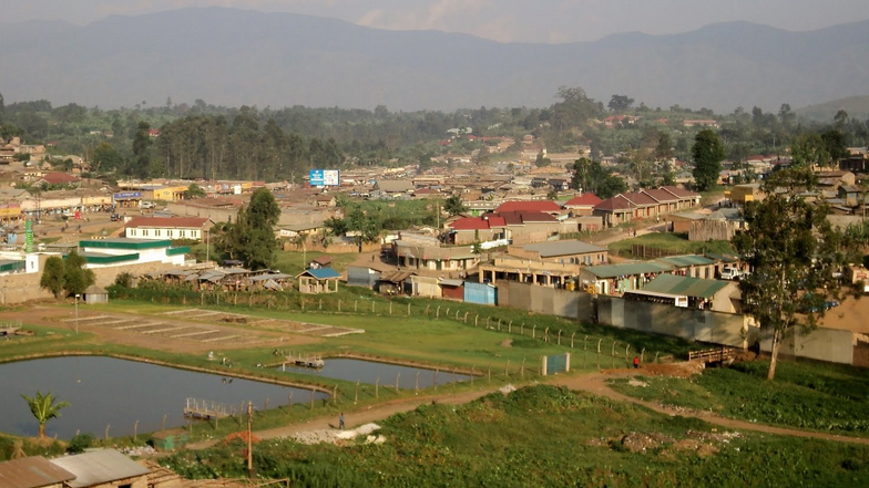 The view of Fort Portal, Uganda, from Rwengoma Hill.