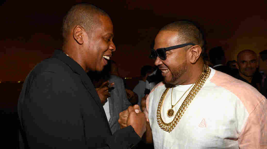 Jay-Z (left) and Timbaland (who produced most of the album) at the release party for Magna Carta Holy Grail July 3 in Brooklyn.