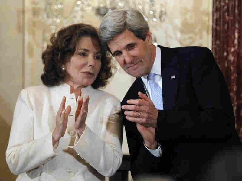 Teresa Heinz Kerry and her husband John, the secretary of state, in February.
