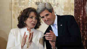 Teresa Heinz Kerry and her husband John, the secretary of state, in February.