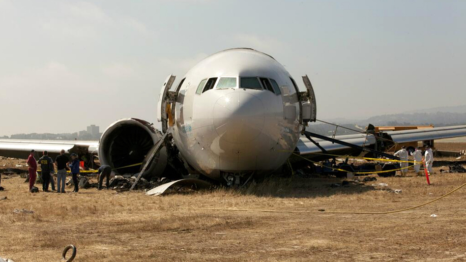 An image provided by the NTSB shows the nose section of Asiana Airline Flight 214, a Boeing 777, at the San Francisco airport where it crash-landed Saturday. (NTSB)