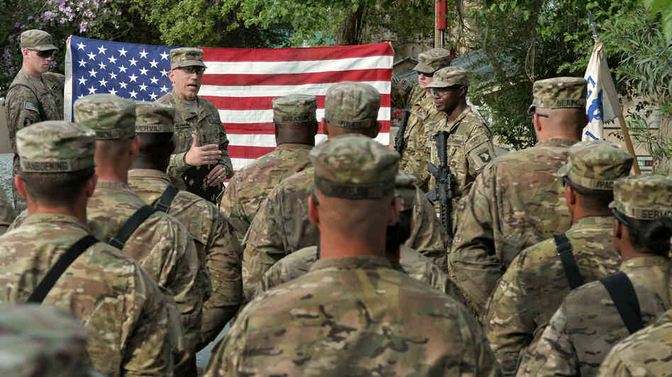 U.S. troops at an April re-enlistment ceremony in Jalalabad, Afghanistan.