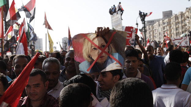 Some Egyptian protesters felt the U.S. ambassador to Egypt, Anne Patterson, was too close to the recently deposed president, Mohammed Morsi. Demonstrators in Cairo carry banners denouncing her on June 30, three days before Morsi was ousted by Egypt's military.