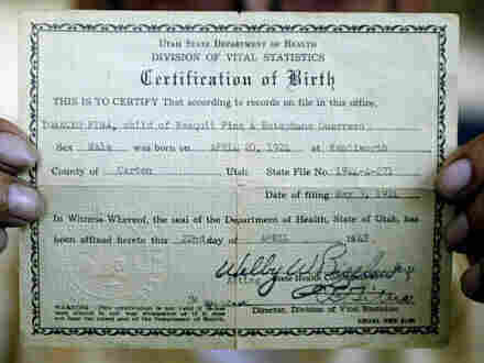 Ignacio Pina, who holds his birth certificate in this 2004 photo, was one of numerous American citizens deported to Mexico in the early 20th Century. The late historian Raymond Rodriguez was instrumental in bringing this story to light.