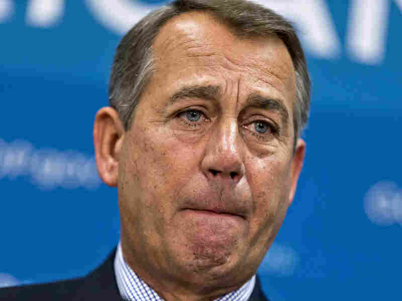 House Speaker John Boehner of Ohio meets with reporters on Capitol Hill on Tuesday.