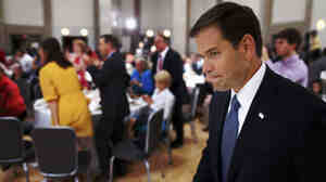 Sen. Marco Rubio, R-Fla., walks toward the stage as he is introduced at a Faith and Freedom Coalition conference in June.