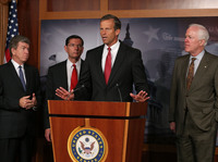 U.S. Sen. John Thune, R-S.D., speaks at a press conference Wednesday on Republican plans to delay enactment of the Affordable Care Act. Looking on are Sens. Roy Blunt, R-Mo., John Barrasso, R-Wyo., and John Cornyn, R-Texas.