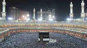 Muslims circle the Kaaba as they pray inside the Grand Mosque in the holy city of Mecca, Saudi Arabia, during last October's hajj pilgrimage.