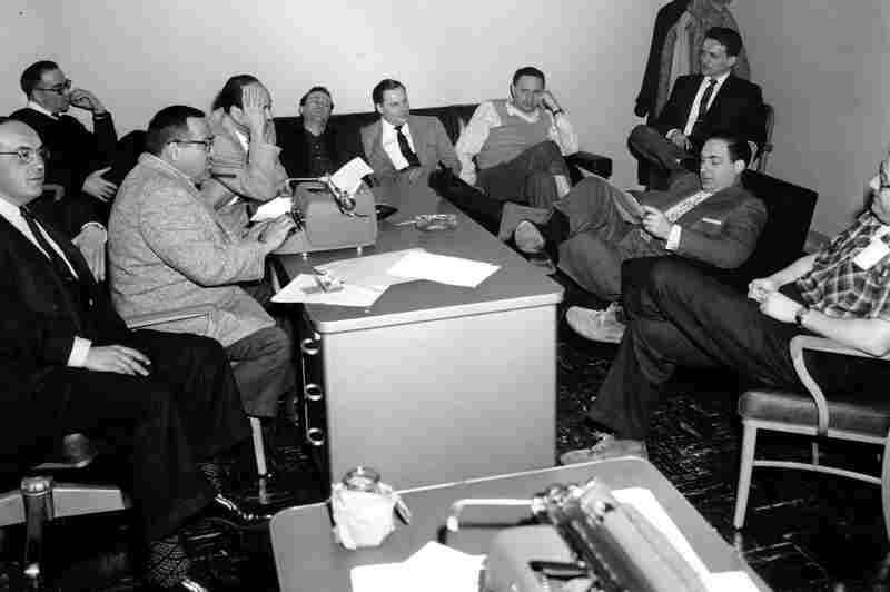 Caesar and some of his staff plan the comedy show Caesar's Hour in New York City in 1955. From left: Dave Caesar, Charles Andrews, Phil Sharp, Carl Reiner, Howard Morris, Aaron Ruben, Mel Tolkin, Mike Ross, Sid and Sheldon Keller.