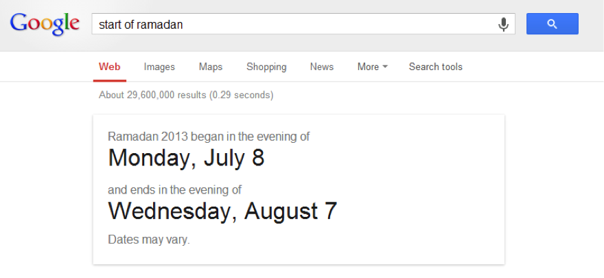 "Google search for ""Ramadan."""