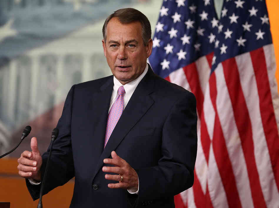 House Speaker John Boehner discusses the farm bill vote at a news conference