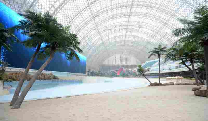 A view of a section of the Paradise Island Water Park, which features an artificial beach, in the New Century Global Center in Chengdu, China.