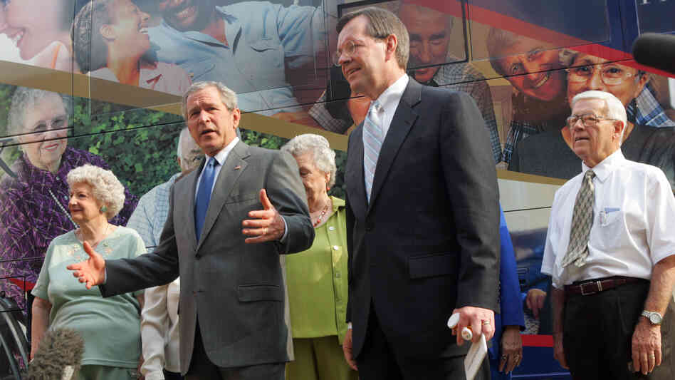 Back in 2006, President Bush and Health and Human Services Secretary Michael Leavitt talked with reporters during a trip to Florida, where Bush spoke to volunt