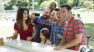 Improbably or not, Salma Hayek (left) and Adam Sandler (far right) are a couple again in Grown Ups 2. Billed as a comedy, the film also features Kevin James, Alexys Nicole Sanchez, Chris Rock, Maria Bello and David Spade, who in this scene are all pretending to laugh at something that in all likelihood involves poo.