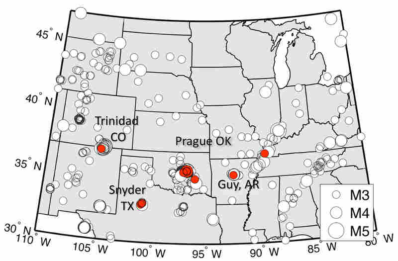 This map shows all the earthquakes stronger than magnitude 3.0 between 2003 and 2013. The earthquakes marked in red occurred in the first 10 days following large earthquakes in Chile in 2010, Japan in 2011 and Sumatra in 2012. The triggering of these quakes occurred almost exclusively in three injection well fields, labeled Prague, Trinidad and Snyder.