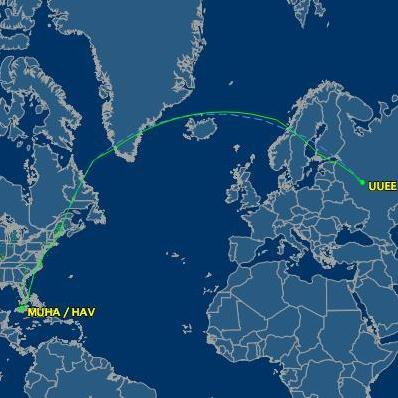 The more northerly route that Aeroflot 150 normally takes.