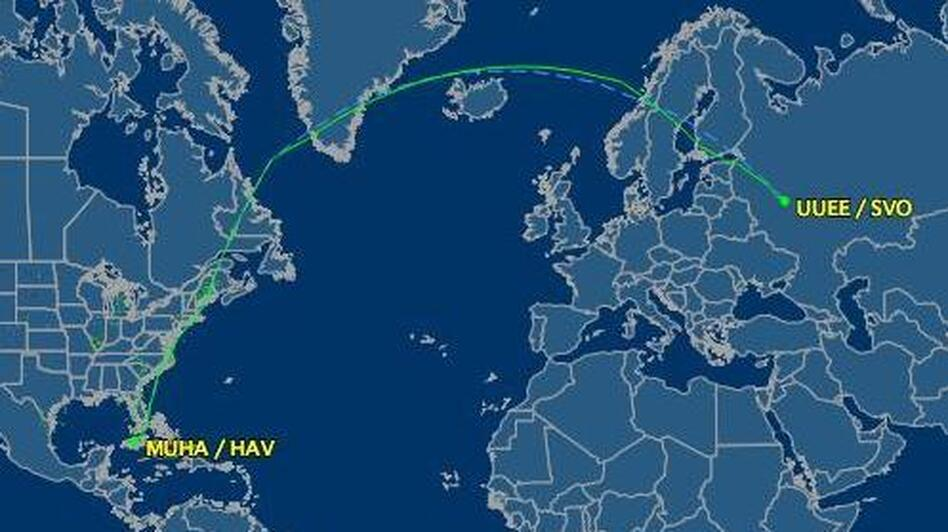 The more northerly route that Aeroflot 150 normally takes. (FlightAware.com)