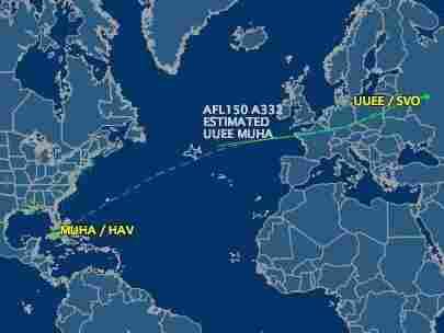 Thursday's flight path for Aeroflot 150 to Cuba.