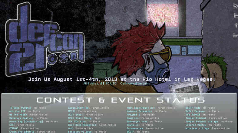An image of the site promoting Def Con 21, a large annual gathering of hackers in Las Vegas. The meeting's leader is asking federal workers to stay away from this year's event.