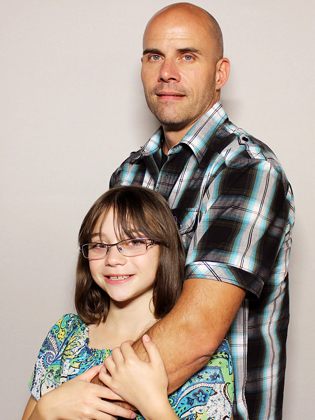 Faith Marr, now 10, was diagnosed with osteogenic sarcoma on her spine in 2007, at the age of 4. Her father, Jerris, was her main caretaker.