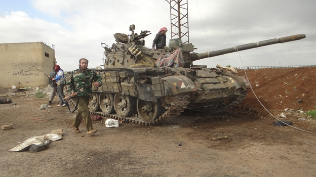 Free Syrian Army fighters after a battle against government troops in Zaizoon, near Dera'a, on Feb. 16. (Landov)