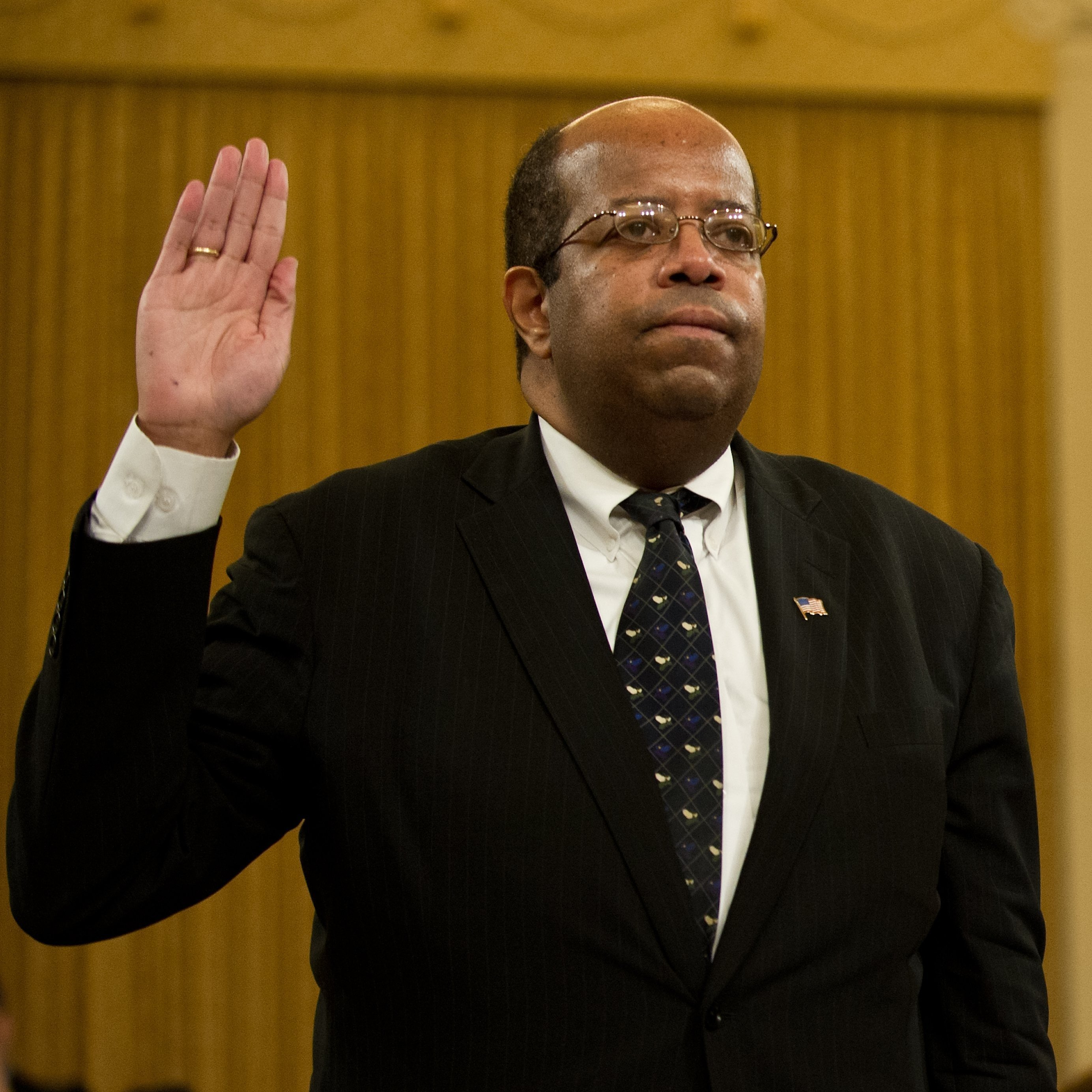 Treasury Inspector General for Tax Administration J. Russell George is sworn in before a full House Ways and Means Committee hearing in May.