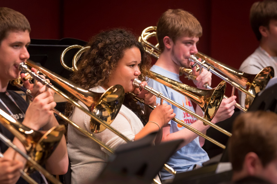 """The first rehearsal, I was speechless,"" says trombonist Skye Dearborn (center). (Chris Lee)"
