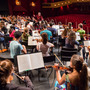 Conductor Valery Gergiev leads the National Youth Orchestra through its first rehearsal with the maestro, at Purchase College outside New York City.