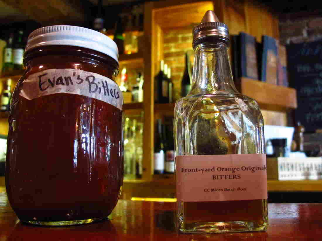 Homemade bitters with medicinal herbs and roots at the Black Trumpet Bistro in Portsmouth, N.H.