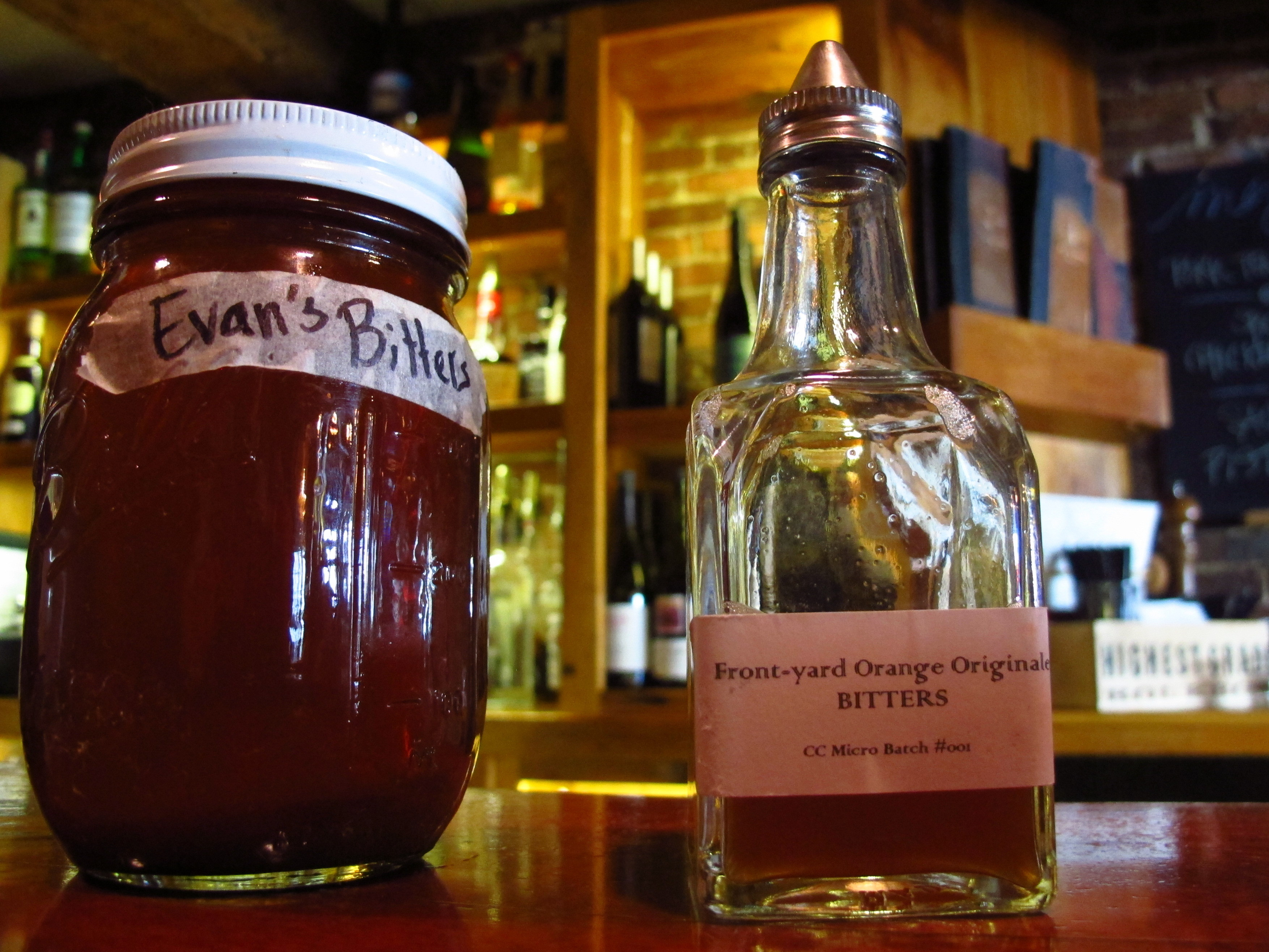 Homemade bitters with medicinal herbs and roots at the Black Trumpet ...