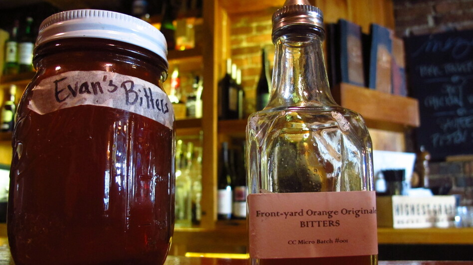 Homemade bitters with medicinal herbs and roots at the Black Trumpet Bistro in Portsmouth, N.H. (New Hampshire Public Radio)