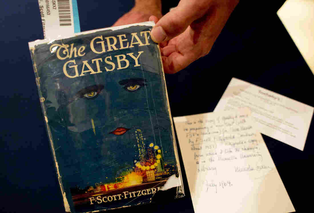 A copy of The Great Gatsby by F. Scott Fitzgerald is displayed at Sotheby's in New York.