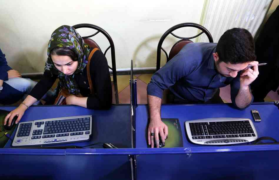 Iranians surf the web at an Internet cafe in Tehran on April 28, 2013. The recently elected president, Hasan Rowhani, has suggested that he may loosen restrictions on the Internet.