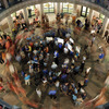Opponents of a state abortion bill circle its supporters in Austin, Texas, in early July.