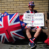 Royal well-wisher Terry Hutt poses for a picture as he waits outside the Lindo Wing of Saint Mary's Hospital in London on Friday.