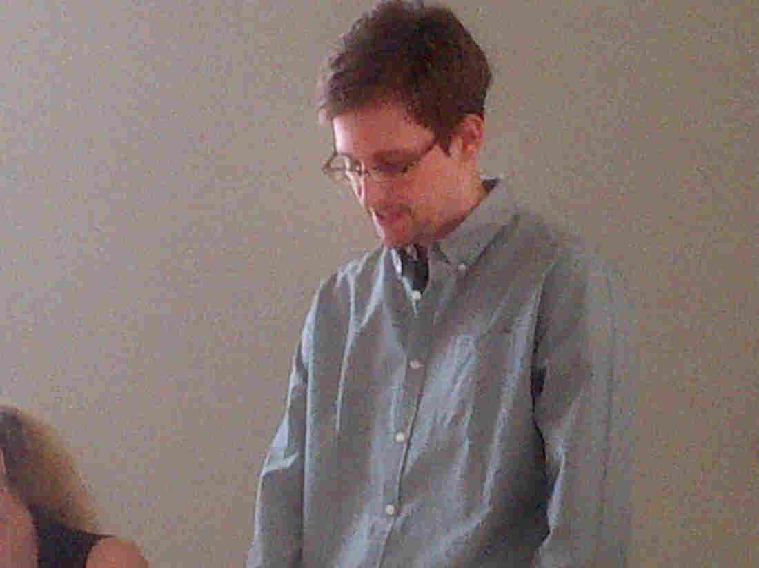 Edward Snowden at a news conference at Moscow's Sheremetyevo Airport on Friday in an image provided by Human Rights Watch.