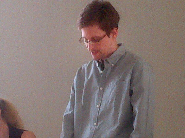 Edward Snowden at a news conference at Moscow's Sheremetyevo Airport o