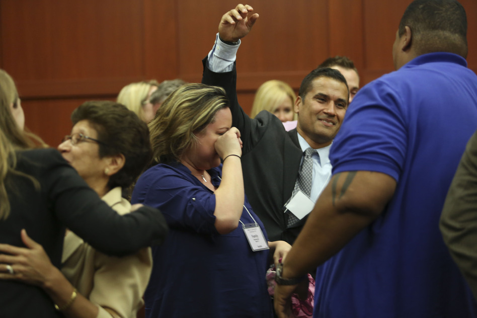 Zimmerman's family and friends celebrated in the courtroom after his acquittal was announced. (Getty Images)