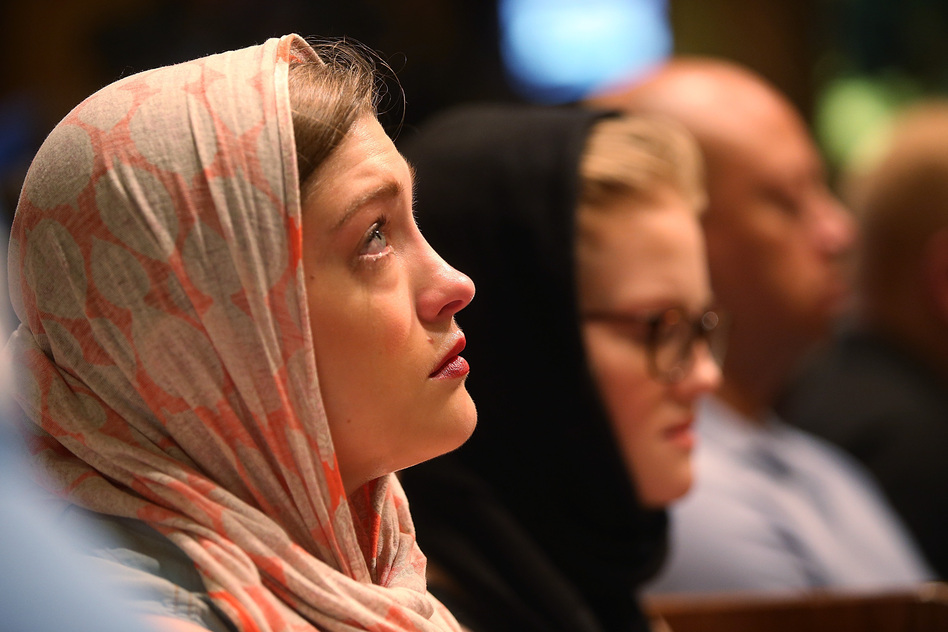 Services honor Trayvon, who was fatally shot in February 2012, at Middle Collegiate Church in New York City on Sunday. (Getty Images)