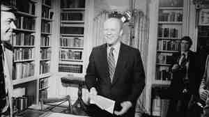 President Gerald Ford finishes giving a speech on Jan. 13, 1975. Ford was born 100 years ago Sunday.
