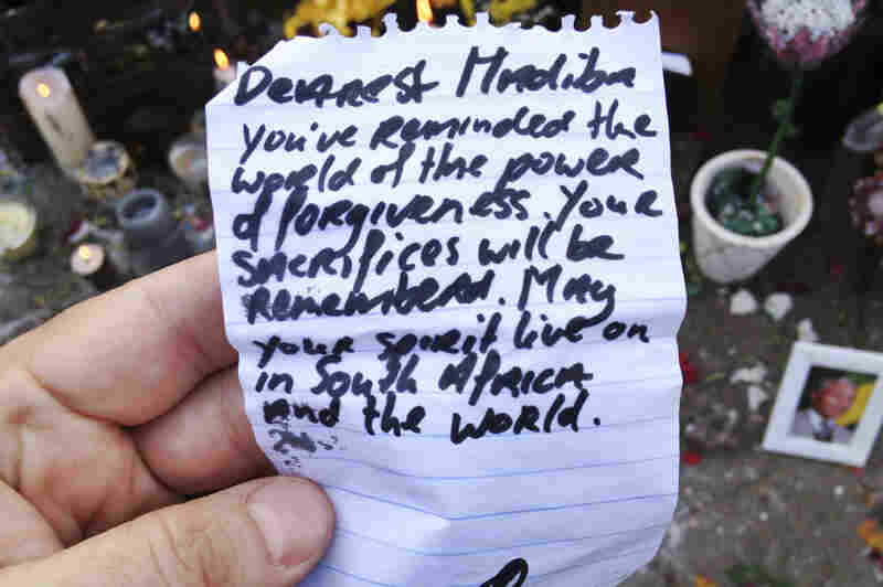 One of the many notes left for Mandela.