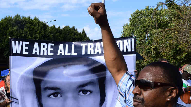 In Los Angeles on Sunday, demonstrators expressed their anger over the acquittal of George Zimmerman on the charges he faced for the death of Trayvon Martin.