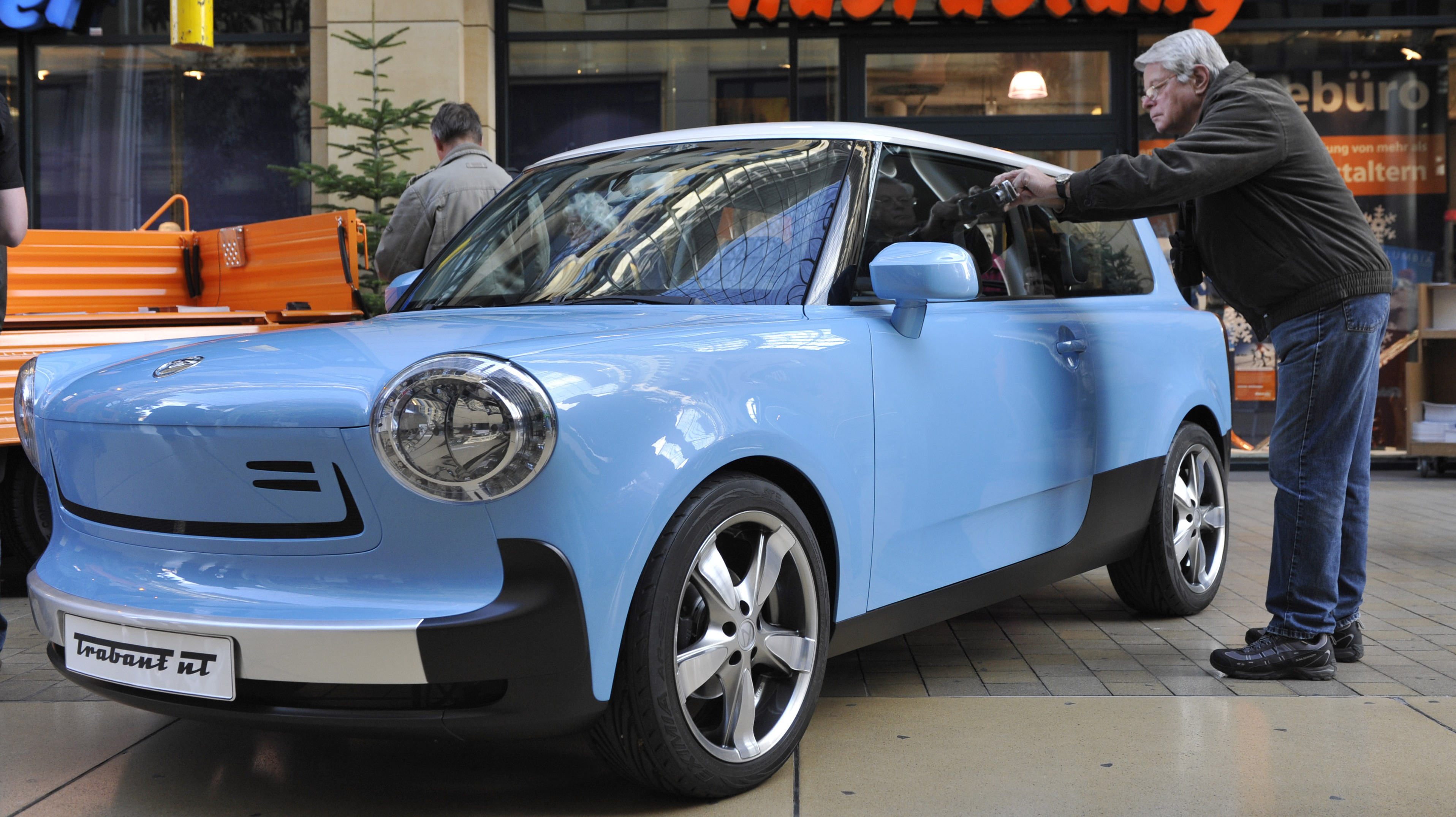 The Trabant NT electric car is presented during a show at a shopping center in Dresden, Germany, in November 2009.