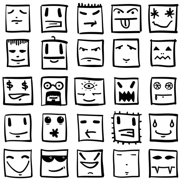 Twenty five cartoon faces showing different emotions.