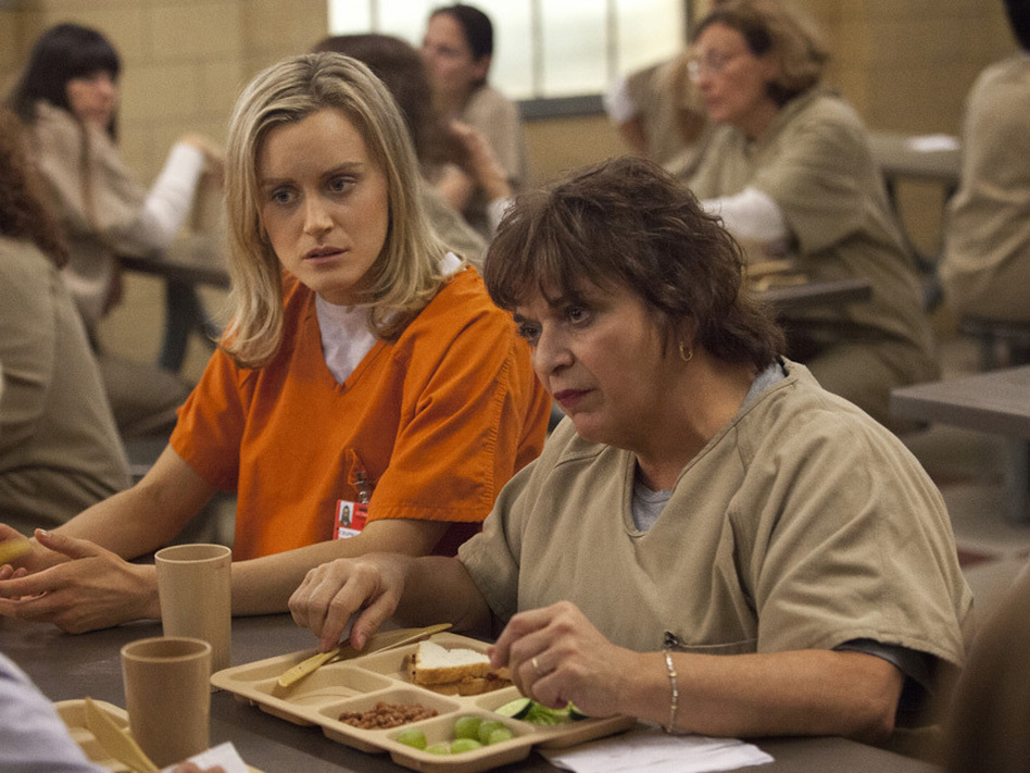 Taylor Schilling and Lin Tucci in the Netflix series <em>Orange Is the New Black</em>. (Jessica Miglio/Netflix)