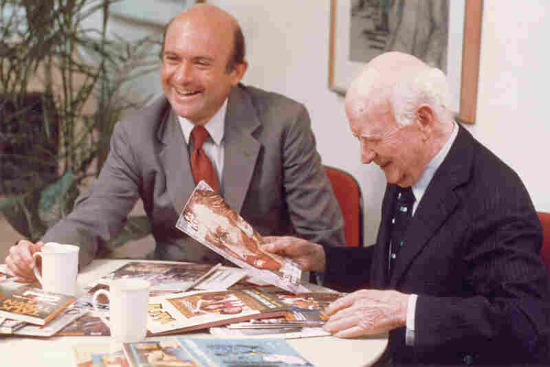 M.R. Robinson founded Scholastic in 1920. His son Dick took over as president and CEO in the 1970s. They are shown above in 1980.