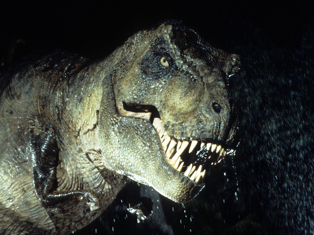 <strong>Mind The Teeth: </strong>Fossils indicate that <em>Tyrannosaurus rex</em> was an active hunter, in addition to being a scavenger. And in <em>Jurassic Park</em>, it also had a sweet tooth for lawyers.