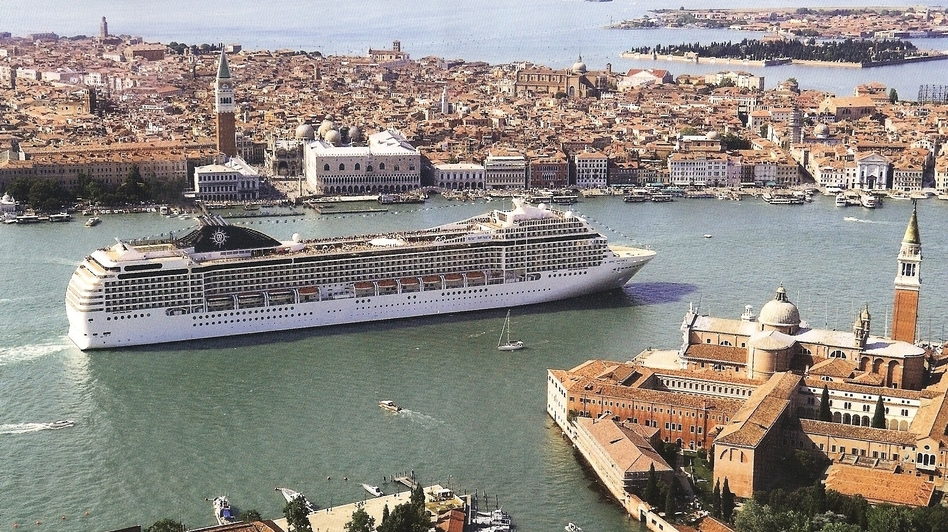 A cruise ship in Venice sails by St. Mark's Square and Doge's Palace. (Courtesy of No Big Ships Committee)