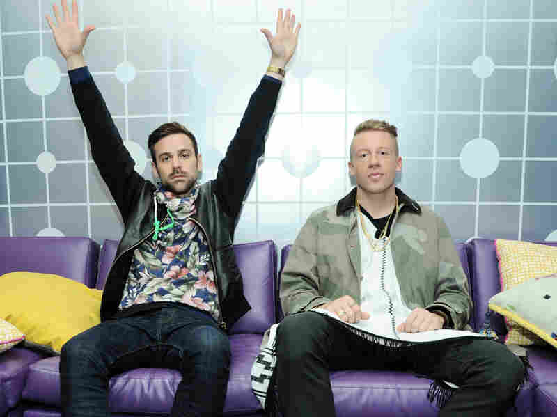 "Ryan Lewis and Macklemore backstage at BET's ""106 & Park"" in May 2013 (Photo by Ilya S. Savenok/Getty Images for BET)"